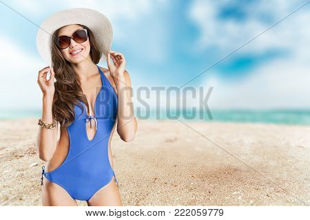 poster of Beautiful woman swimsuit shape human season travel
