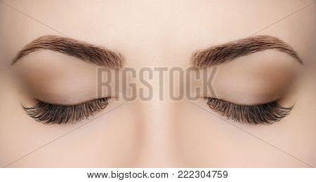 poster of Beautiful Woman With Long Eyelashes In A Beauty Salon. Eyelash Extension Procedure. Lashes Close Up