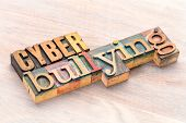 cyber bullying word abstract- text in vintage  letterpress wood type printing blocks stained by colo poster