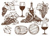 stock photo of grape-vine  - Vector winery design elements set - JPG