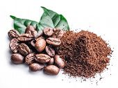 Roasted coffee beans ground coffee on white background. poster