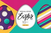 Happy Easter Sale Banner. Design For Holiday Flyer, Poster, Greeting Card, Party Invitation. Vector poster