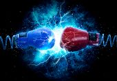Pair of boxing gloves hangs off the boxing ring on electricity light background poster