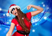 Santa girl with stars and blue background dancing to music