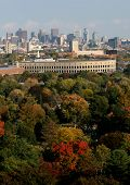 pic of prudential center  - Harvard Stadium in the fall with Boston city skyline in the background - JPG