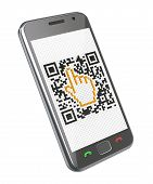 stock photo of qr-code  - 3D concept with smartphone and QR code with the cursor - JPG