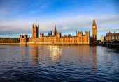London cityscape with Palace of Westminster, Elizabeth Tower aka Big Ben and the Westminster Bridge  poster
