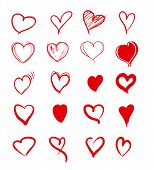 Set Of Red Grunge Hearts. Vector Heart Shapes poster