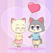 Sweet Little Cute Kawaii Anime Cartoon Puppy Wolf Dog Puppy Boy And Cat, Kitten Girl With Pink Ballo poster