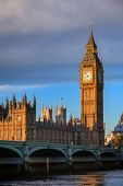 Palace of Westminster with Elizabeth Tower aka Big Ben and Westminster Bridge over the River Thames  poster