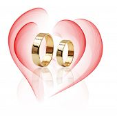 Diamond ring isolated on white background. Ring with three diamonds. Golden wedding rings. poster