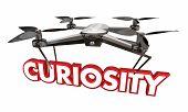 Curiosity Drone Word Camera Spying Surveillance 3d Illustration poster