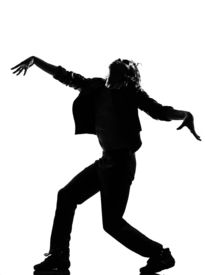 picture of b-double  - full length silhouette of a young man dancer dancing funky hip hop r - JPG