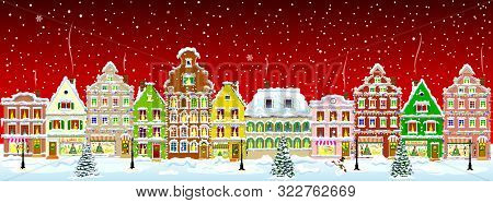 poster of Winter Night In The Old Town On The Eve Of Christmas. City Street In Winter. Christmas Eve. The Hous