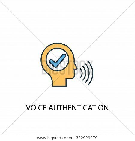 poster of Voice Authentication Concept 2 Colored Line Icon. Simple Yellow And Blue Element Illustration. Voice