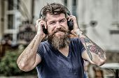 Man Bearded Hipster Headphones Listening Music. Excellent Music Playlist. Hipster Enjoy Excellent So poster