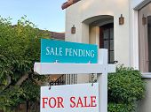 Close Up On For Sale And Sale Pending Sign In Front Of A California Home. Housing Crisis, Selling Ho poster