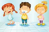 image of female toilet  - Kids caring for teeth illustration - JPG