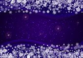 Xmas Theme Sale With Ultraviolet Snowflakes. New Year Snowy Backdrop. Winter Border For Gift Coupons poster