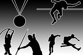 stock photo of pole-vault  - Glowing silhouettes of sporting men and medal over black background - JPG