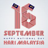 September 16, Malaysia National Day Congratulatory Design. Text Made Of Bended Ribbons With Malaysia poster