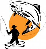 picture of fishing rod  - Vector art on fish and fishing isolated on white - JPG