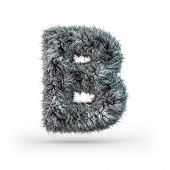 Uppercase Fluffy And Furry Gray Font. Letter B. 3d Rendering poster