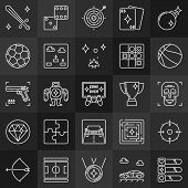 Game Outline Concept Icons. Videos Games And Gaming Linear Signs On Dark Background poster