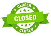 Closed Ribbon. Closed Round Green Sign. Closed poster