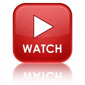 "stock photo of watch  - ""WATCH"" with play icon on red glossy square button - JPG"