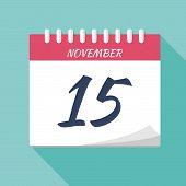 Vector Illustration. Calendar Icon. Calendar Date - November 15. Planning. Time Management. poster