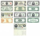 image of one hundred dollar bill  - Set of old and rare United States 100 500 1000 and 10000 dollar banknotes - JPG