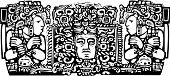 stock photo of triptych  - Woodblock style Mayan Triptych image with priests - JPG