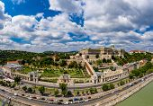 Drone photo, panorama of buda castle and danube Budapest, Hungary . poster