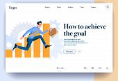 Web Page Flat Design Template For Achievement Goals. Business Landing Page Online With Information O poster
