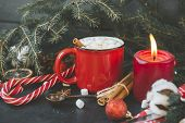 1 Mug Of Hot Christmas Drink With Marshmallows, Candle, Lollipops, Fir Branch, Spoon, Cotton Branch, poster