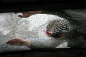 Pedestrian Hit By A Car, With Blood On The Splintered Windshield poster