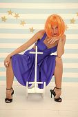 Fun And Entertainment. Back To Childhood. Girl Wig Rides Swing Little Horse. Lady Red Or Ginger Wig  poster