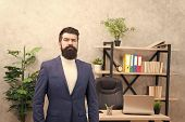 Good Boss Is Good Leader. Man Bearded Hipster Boss Looking At You With Attention. Boss Standing In O poster