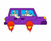 Astronaut In Flying Car. Space Tourism. Spaceship Auto. Spaceman In Rocket Automobile poster