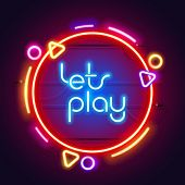 Round Colorful Neon Lets Play Sign For Your Projects In Retro-futuristic Style. poster