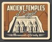 Ancient Egyptian Temples And Historic Monuments Landmark Tours. Vector Antique City Sightseeing Trav poster