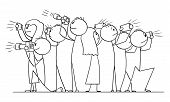 Vector Cartoon Stick Figure Drawing Conceptual Illustration Of Group Of People, Photographers Or Tou poster