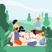 Outdoor Picnic People. Happy Family In Green Summer Park Eating Food Have A Rest And Playing Vector  poster