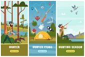 Hunting Banners. Man Sniper With Rifle Binoculars And Ammunition Goes To Autumn Duck Hunting Birds V poster