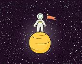 Sketch Astronaut With Flag. Doodle Cute Scene About Space Reseach. Hand Drawn Cartoon Vector Illustr poster