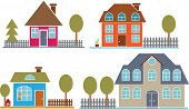 4 cute family houses - vector set # 24