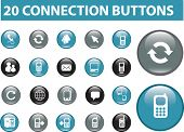 20 connection glossy buttons. vector