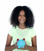 Saver teenager girl with afro hair and blue moneybox isolated on a white background poster