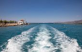 Passing Through The Corinth Canal By Yacht, Greece. The Corinth Canal Connects The Gulf Of Corinth W poster